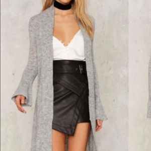 Nasty gal vegan leather wrap skirt with belt